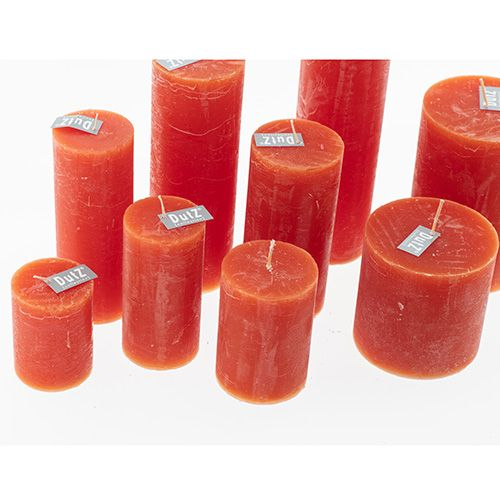 GYERTYA RUSTIC - H25 D7 cm - KORAL Vörös, GYERTYA RUSTIC - H25 D7 cm - KORAL Vörös