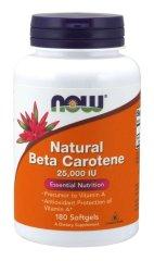NOW NOW Vitamin A, Přírodní betakaroten, 25000 IU, 180 softgel kapslí