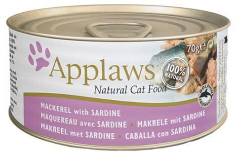 Applaws konzerva za mačke s skušo in sardino, 24x70 g