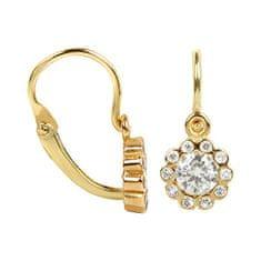 Brilio Dětské zlaté náušnice s krystaly Kytička 239 001 00292