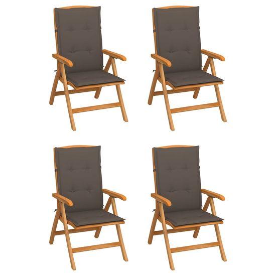 shumee Rozkładane krzesła ogrodowe z poduszkami, 4 szt., drewno tekowe
