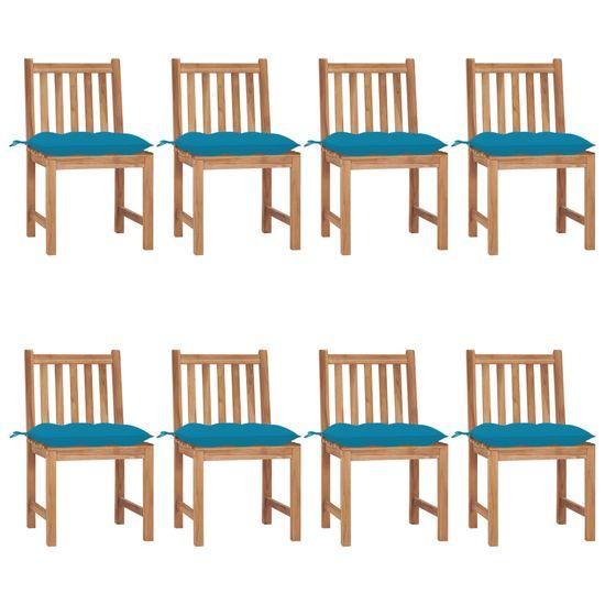 shumee Vrtni stoli 8 kosov z blazinami trdna tikovina