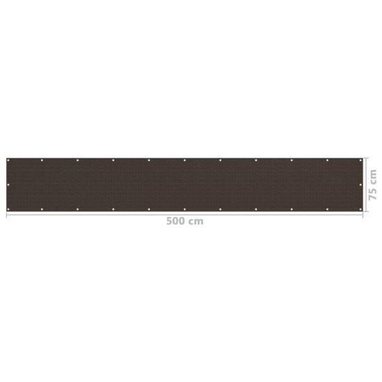 shumee Parawan balkonowy, brązowy, 75x500 cm, HDPE