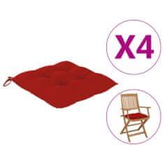 shumee vankúše na stoličky 4 ks 40x40x7 cm červené