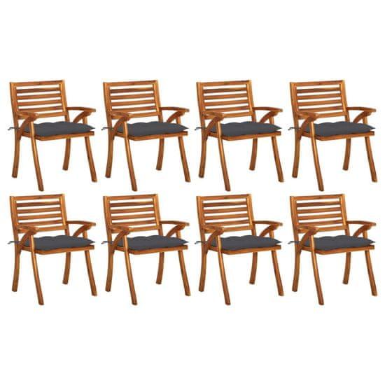 shumee 8 db tömör akácfa kerti szék párnákkal
