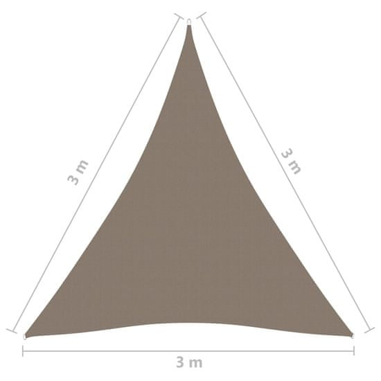 shumee tópszínű háromszögű oxford-szövet napvitorla 3 x 3 x 3 m