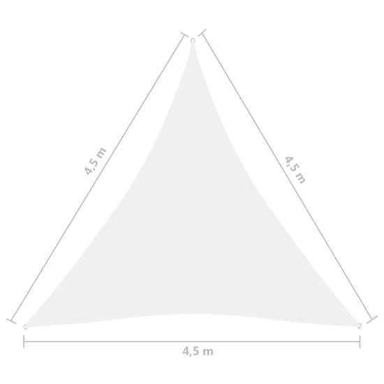 shumee fehér háromszögű oxford-szövet napvitorla 4,5 x 4,5 x 4,5 m