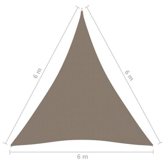 shumee tópszínű háromszög alakú oxford-szövet napvitorla 6 x 6 x 6 m