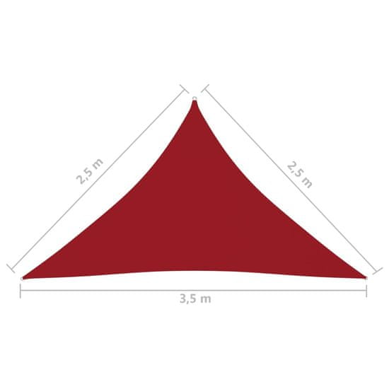 shumee piros háromszögű oxford-szövet napvitorla 2,5 x 2,5 x 3,5 m