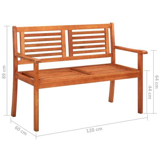 shumee 2-miestna záhradná lavica s vankúšom 120 cm eukalyptový masív