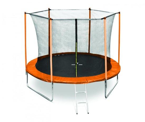 Legoni Fun trampolin, z zaščitno mrežo in lestvijo, 305 cm, oranžen