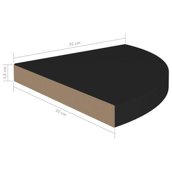 shumee Plávajúce rohové police 4 ks, čierne 35x35x3,8 cm, MDF