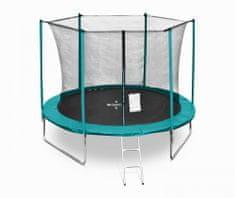 Legoni Fun trampolin, z zaščitno mrežo in lestvijo, 244 cm, temno zelen