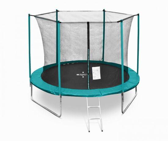 Legoni Fun trampolin, z zaščitno mrežo in lestvijo, 305 cm, temno zelen