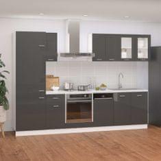 shumee Komplet kuhinjskih omaric 8-delni visok sijaj siv iverna plošča