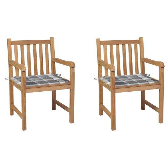 shumee 2 db tömör tíkfa kerti szék szürke kockás párnával