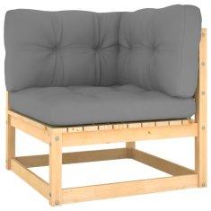 shumee Ogrodowe siedzisko narożne z szarymi poduszkami, lita sosna