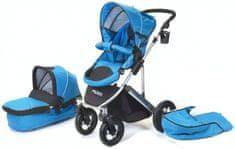 Helieli Kombiniran otroški voziček z nosilko, moder