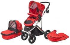 Helieli Kombiniran otroški voziček z nosilko, rdeč