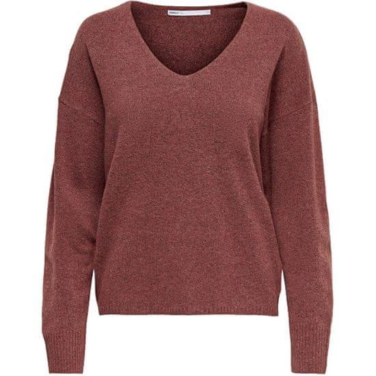 ONLY Ženski pulover ONLRICA LIFE 15224360 Mineralno rdeč