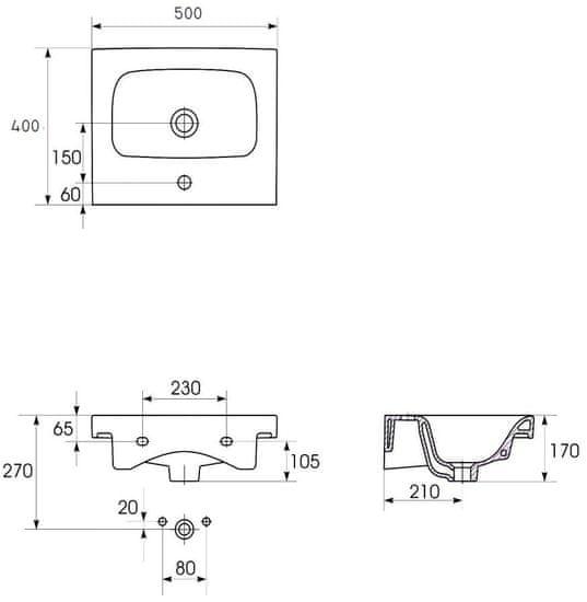 CERSANIT Cersanit - SET skrinka + umývadlo, biely lesk, Moduo 50, S801-230-DSM