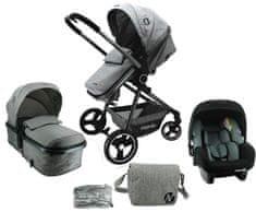 Nania wielofunkcyjny wózek dziecięcy GIULIA + torba do przewijania + osłona przeciwdeszczowa 2021 GREY