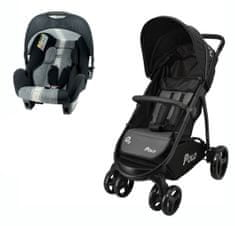 Nania Polo voziček + Beone avtosedež (0–13 kg), Linea Grey