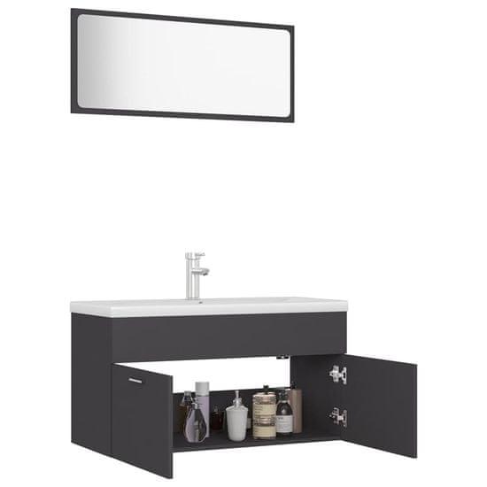 shumee Komplet kopalniškega pohištva sive barve iverna plošča