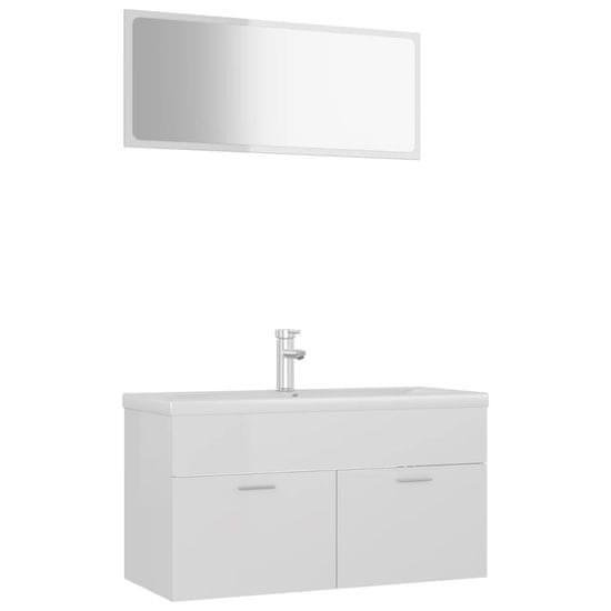 shumee magasfényű fehér forgácslap fürdőszobai bútorszett
