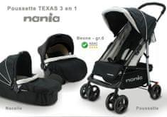 Nania wózek TEXAS + fotelik samochodowy BEONE (0-13 kg) + gondola (0-6 mies.) 2021 BLACK