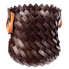 Pinetti ALMERIA okrasna košara z usnjenimi ročaji, temno rjava