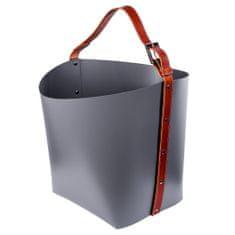 Pinetti OVO okrasna košara z rjavim ročajem, temno siva
