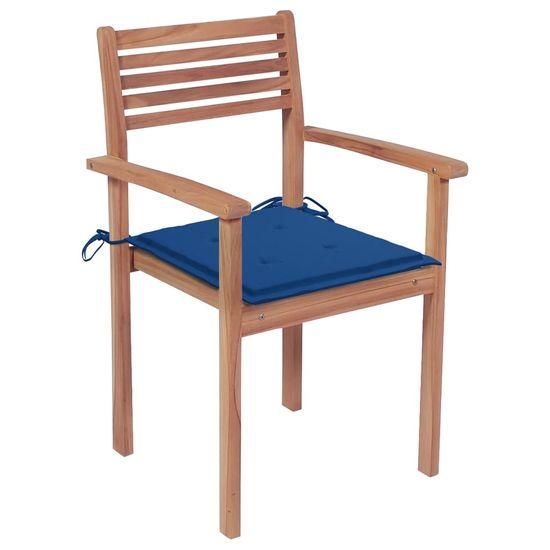 shumee 6 db rakásolható tömör tíkfa kerti szék párnákkal