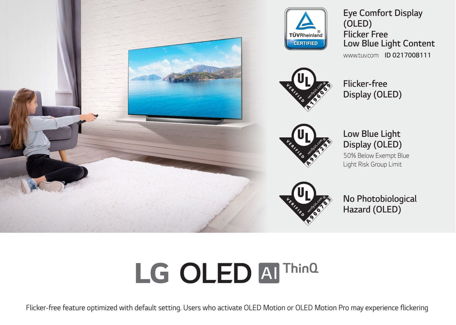 LG TV televízor OLED 4K 2021 šetrný pre zrak modré svetlo životné prostredie bezpečný