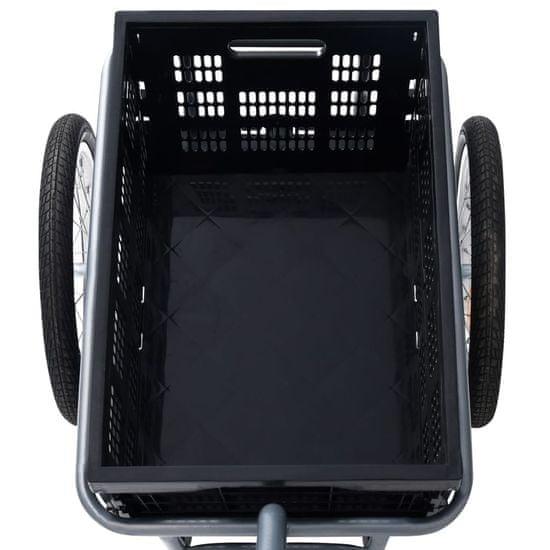Greatstore Přívěsný vozík za kolo se skládacím boxem 50 l černý 150 kg