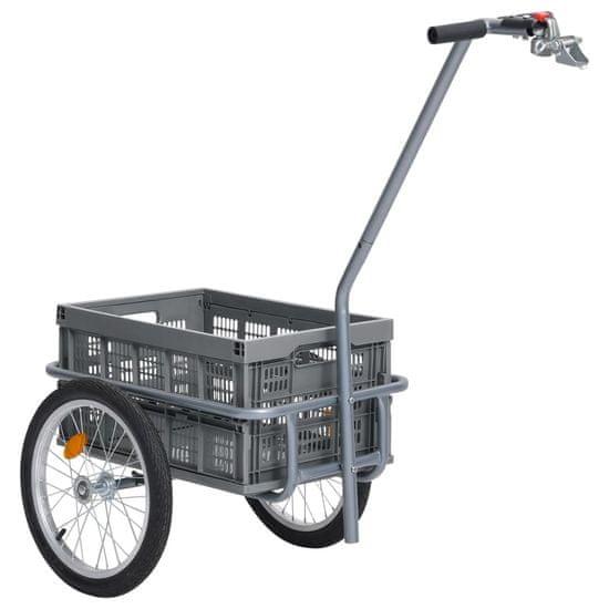 Greatstore Přívěsný vozík za kolo se skládacím boxem 50 l šedý 150 kg