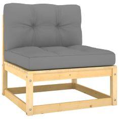 shumee Ogrodowe siedzisko środkowe z szarymi poduszkami, lita sosna