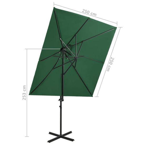 Greatstore Závesný slnečník s dvojitou strieškou zelený 250x250 cm