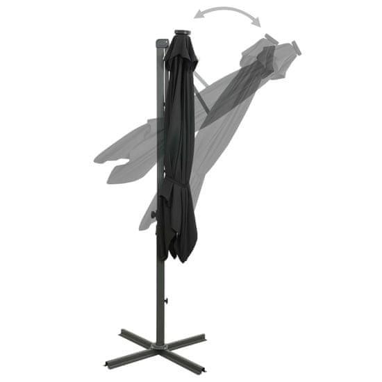 shumee fekete konzolos napernyő rúddal és LED-fényekkel 250 cm