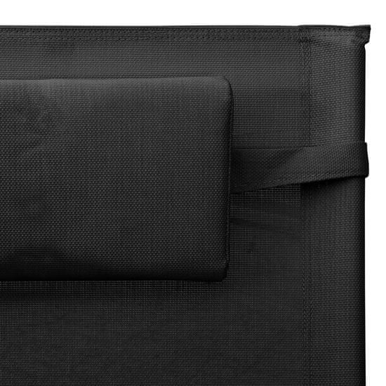 shumee ležadlo Textilene Black Grey