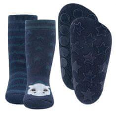EWERS 2 darabos csúszásgátló fiú zokni szett ABS 225071, 17 - 18, sötétkék