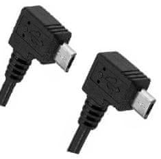 W-STAR Redukce kabel USB micro male 90° na USB micro male, 27cm, úhlový