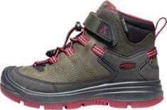 KEEN dětská kožená kotníčková obuv REDWOOD MID WP Y steel grey/red dahlia 32.5 khaki