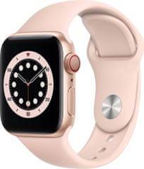 Apple Watch Series 6 Cellular, 40mm Gold, Pink Sand Sport Band - Regular