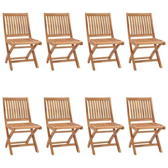 shumee 8 db összecsukható tömör tíkfa kerti szék párnával