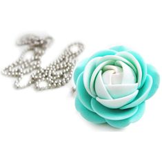 Troli Biało-mentol naszyjnik kwiat