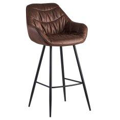 Bruxxi Barová stolička Gepo, zamat, hnedá