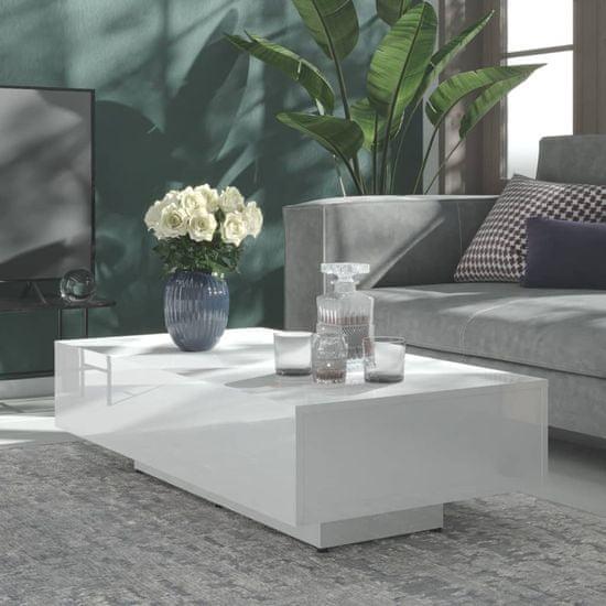 Petromila Konferenčný stolík lesklý biely 115x60x31 cm drevotrieska