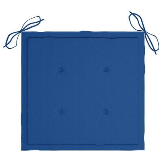 shumee vrtni stoli 2 kosa modre blazine iz tikovega lesa