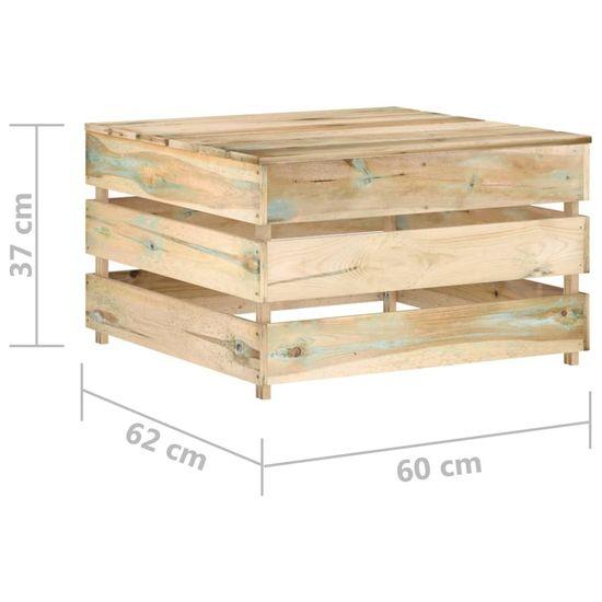 shumee 6-dielny záhradný set s podložkami zelené impregnované drevo